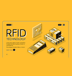 radio-frequency identification web banner vector image