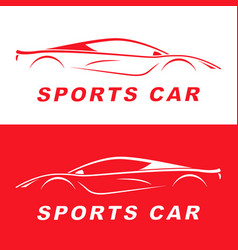 Red sports car silhouette logo design vector