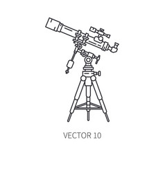 Retro astronomy lens telescope line icon vector
