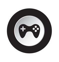 Round black white button icon with gamepad vector