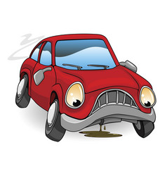 Sad broken down cartoon car vector