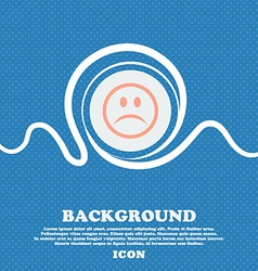Sad face Sadness depression sign icon Blue and vector image