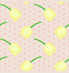 seamless floral pattern with yellow tulip flowers vector image