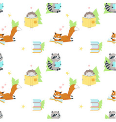 seamless pattern with cute squirrel and vector image