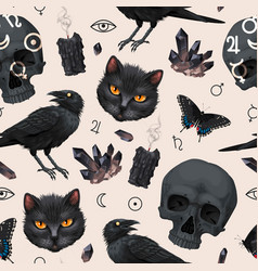 Seamless pattern with raven and black cat vector