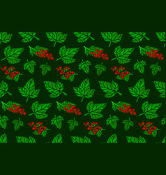 seamless pattern with red currant and green leaves vector image