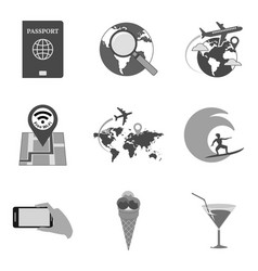 set of travel icons and symbols in trendy flat vector image