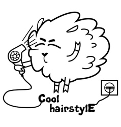 Sheep with a hairdryer vector