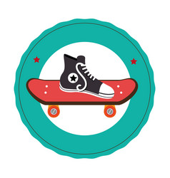 Skateboard with young shoe icon vector