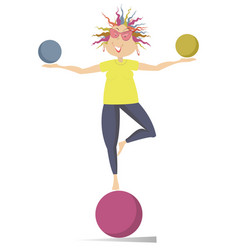 Smiling cartoon young woman do exercises with the vector