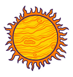 space sun icon hand drawn style vector image