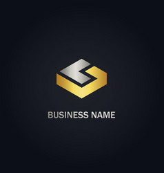 square cube gold business logo vector image