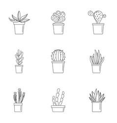 succulent cactus icon set outline style vector image