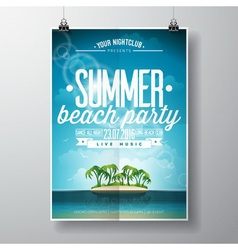 Summer Beach Party Flyer Design with clouds vector image