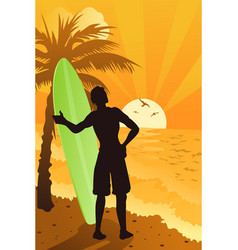 surfer in the ocean vector image