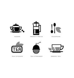 Tea icons set sugar french press teaspoon vector