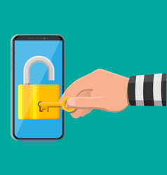 thief or hacker hand use key to open smartphone vector image