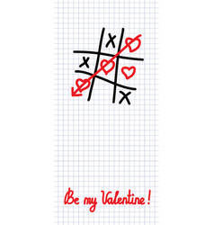 Tic-tac-toe love game vector
