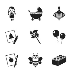 Toys set icons in black style Big collection of vector image