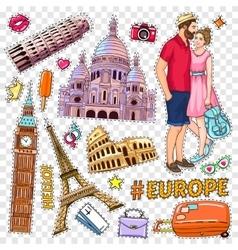 Travel Pop Art Patches Set vector