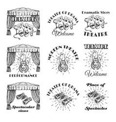 vintage theatre label emblem badge and logo set vector image
