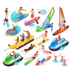 Water sport isometric set vector