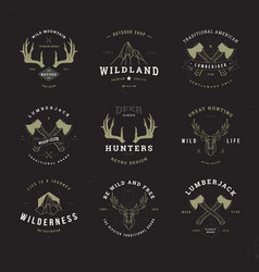 Wildlife hunters logo set invert vector