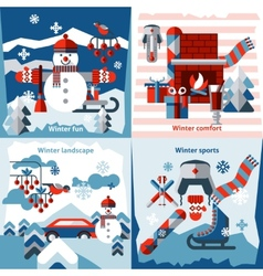 Winter flat icons set vector image vector image