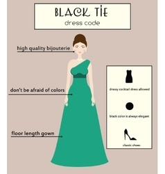 Woman dress code infographic Black tie vector
