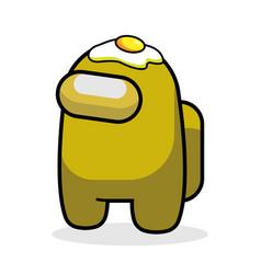 Yellow game character among us with egg vector