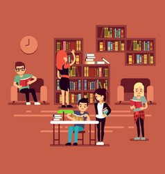 bibliotheca school library interior with student vector image vector image