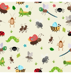 Bugs and Beetles seamless background vector image
