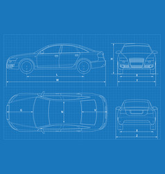 Car schematic or car blueprint vector