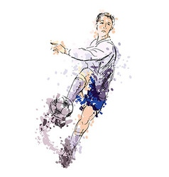 Colored hand drawing a soccer player vector image vector image