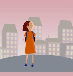 cute girl in uniform going to school with backpack vector image