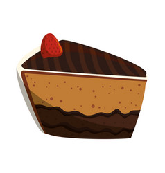 delicious chocolate cake vector image vector image