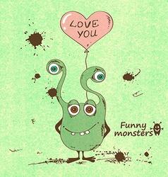 Monster holding a heart shape balloon vector image vector image