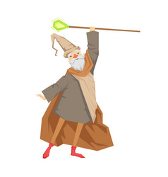 old wizard with magic staff colorful fairy tale vector image vector image