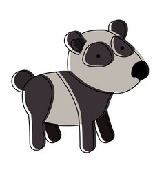 panda cartoon in watercolor silhouette with thin vector image vector image