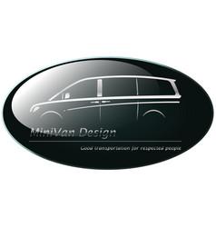 silver mini van on dark green background vector image