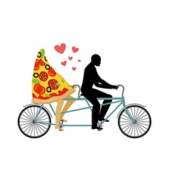Pizza on bicycle Lovers of cycling Man rolls a vector image