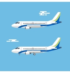 Aircraft with wide wings is flying in blue cloudy vector image vector image