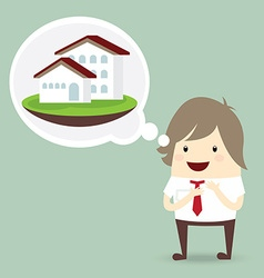 businessman is happy dream luxury house business vector image