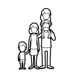 caricature thick contour faceless big family vector image