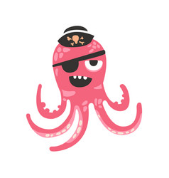 Cute cartoon pink octopus character pirate with an vector