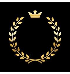 Gold laurel wreath with crown vector image