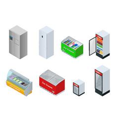 isometric fridge drink with glass door mini vector image