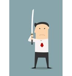 Serious businessman with katana sword vector image vector image