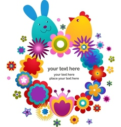 easter greeting card with bunny and bird vector image vector image