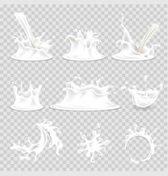milk splash pouring drops 3d realistic vector image vector image
